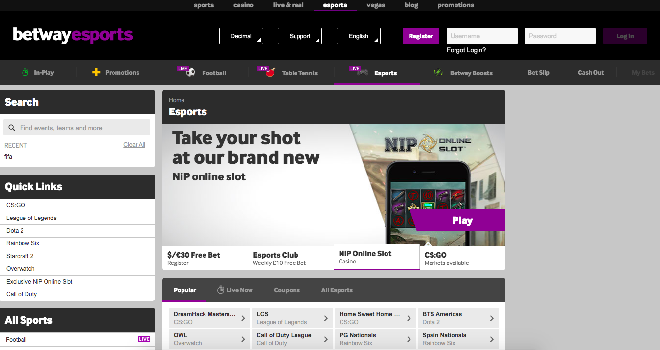 Betway.Com main page