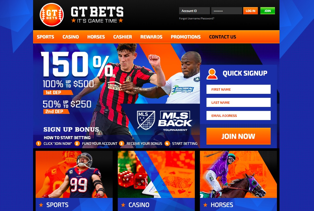 GT Bets main page