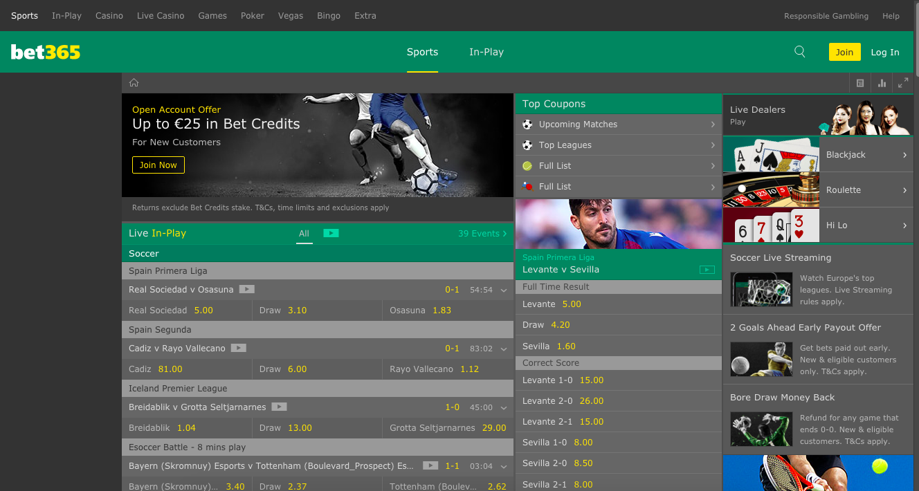 bet365 main page